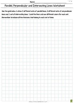 Parallel Lines & Perpendicular Lines - Geometry Worksheet (4.G.1) 4th Grade