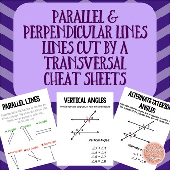 Parallel Lines, Perpendicular Lines, Lines Cut by a Transversal Cheat Sheets