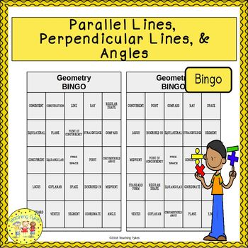 Parallel Lines, Perpendicular Lines, and Angles Geometry BINGO