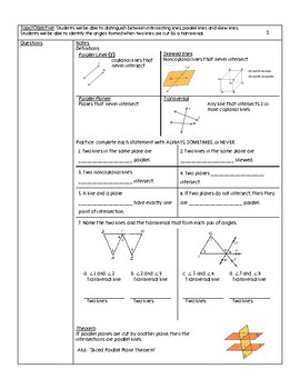 Parallel Lines/Planes and Transversal Unit Notes