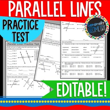 Parallel Lines Practice Test; Geometry, Transversals, Slope