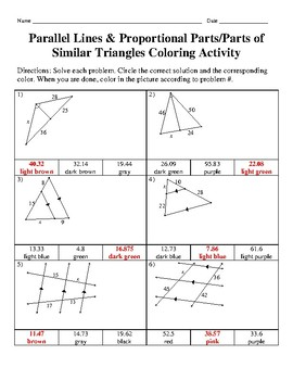 Parallel Lines & Proportional Parts/Parts of Similar Triangles Coloring Activity