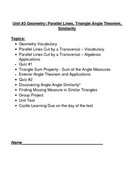 Parallel Lines, Supplementary Angles, Vertical Angles and Similarity Packet