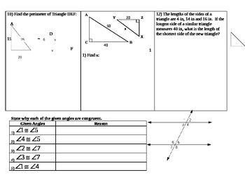 Parallel Lines, Supplementary, Vertical, Similarity Review Sheet