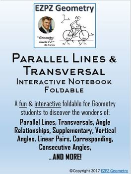 Parallel Lines & Transversal Angle Relations Interactive Notebook Foldable