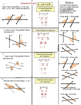 Parallel Lines-Transversal: Set Up Equations Notes and Practice