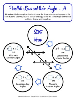 Parallel Lines, Transversals, Angles Relay Game