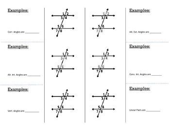 Parallel Lines & Transversals Notebook Insert