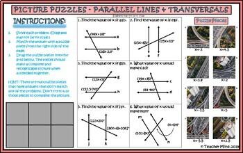 Parallel Lines & Transversals - Picture Puzzle - Digital Activity