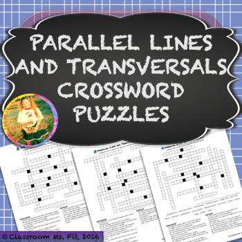 Parallel Lines & Transversals Vocabulary Crossword Puzzles {Five Versions}