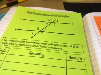 Parallel Lines, Transversals, and Angles Foldable Notes