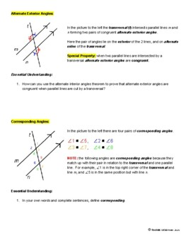 Parallel Lines, Transversals, and The Special Angles Formed