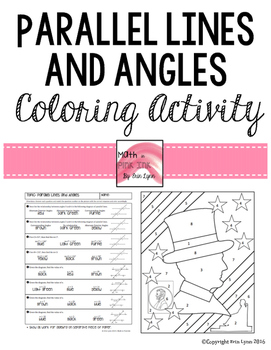 Parallel Lines and Angles Coloring Activity Lincoln 8.G.A.5 Go Math