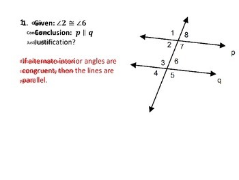 Parallel Lines and Angles Pass the Proof Activity