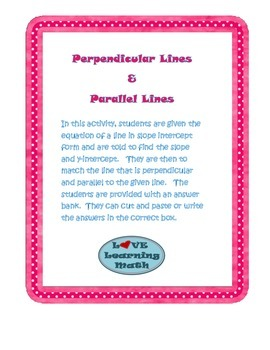 Parallel Lines and Perpendicular Lines Activity