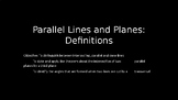 Parallel Lines and Planes: Definitions - PowerPoint Lesson (3.1)