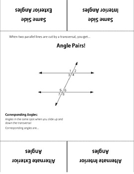 Parallel Lines and Transversal Foldable