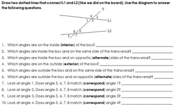 Parallel Lines and Transversal Investigation