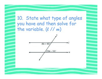 Parallel Lines and Transversal Task Card/Activity