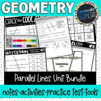 Parallel Lines & Transversals Unit Bundle; Geometry, Paral