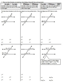 Parallel Lines and Transversals Fall 2013 with Answer Key (Editable)