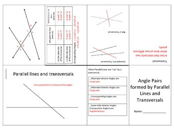Parallel Lines and Transversals Foldable