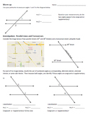 Parallel Lines and Transversals Investigation