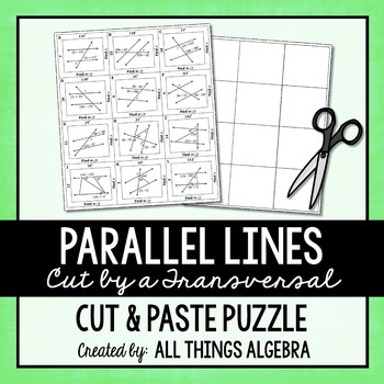 Parallel Lines Transversals And Angles Cut And Paste Puzzle Tpt