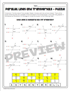 Parallel Lines and Transversals - Puzzle Worksheet by Sine on the Line