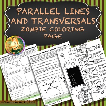 Parallel Lines and Transversals ~ Zombie Coloring Page