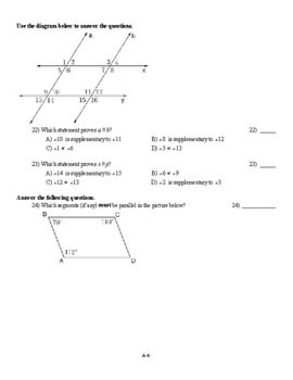 Parallel Lines and Triangle Angles Test (2 versions + proofs)