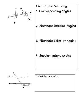 Parallel Lines cut a Transversal