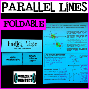 Parallel Lines cut by Transversal Foldable Notes Interactive Notebook