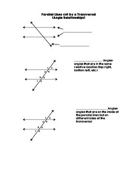 Parallel Lines cut by a Transversal (Angle Relationships) Guided Notes