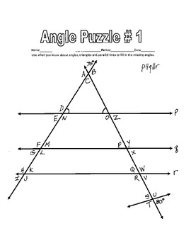 Parallel Lines cut by a Transversal  Printable Missing Angle Worksheets w Key