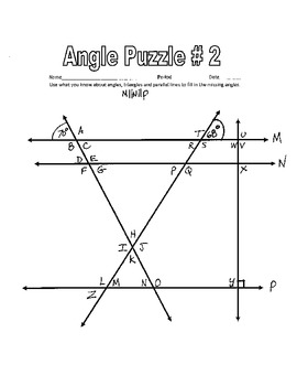 picture regarding Key Printable named Parallel Strains reduce via a Transversal - Printable Misplaced Frame of mind Worksheets w Mystery