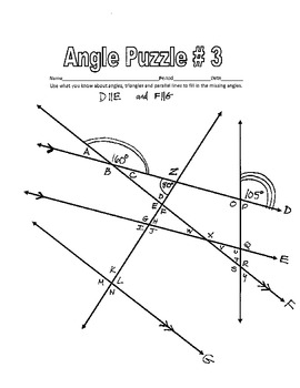 Parallel Lines cut by a Transversal - Printable Missing Angle Worksheets w Key