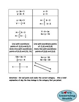 Parallel Lines vs. Perpendicular Lines Sort