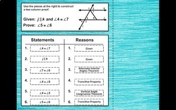 Parallel Lines with Transversals Proofs Digital Activity