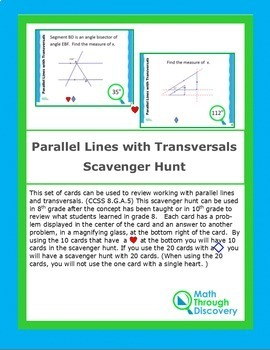 Geometry:  Parallel Lines with Transversals Scavenger Hunt