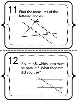 Parallel Lines with Transversals Task Cards