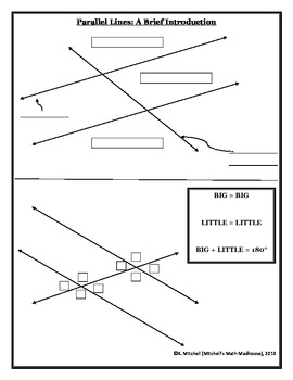 Parallel Lines/Transversals Introduction: Fill-In Note Sheet