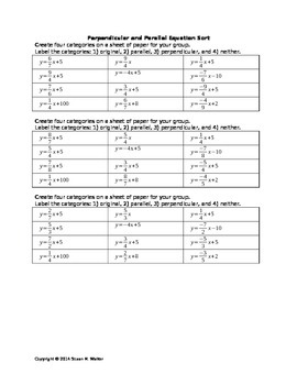 Parallel & Perpendicular Equation Matching - Quick Activity