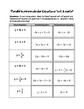 "Parallel & Perpendicular Equations ""Cut & Paste"""
