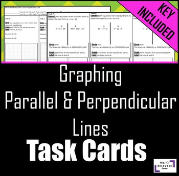 Graphing Parallel & Perpendicular Lines: Task Cards