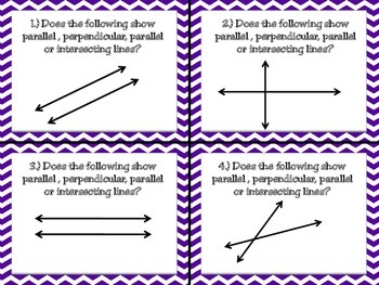 Parallel, Perpendicular, Intersecting Lines Task Cards