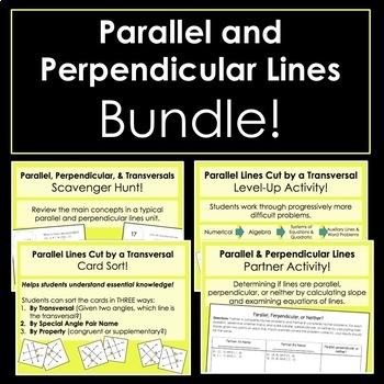 Parallel & Perpendicular Lines Activity Bundle