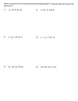 Parallel & Perpendicular Lines Algebra Regents