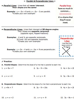 Parallel & Perpendicular Lines Bundle (Common Core and PARCC Aligned)