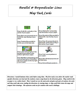 Parallel & Perpendicular Lines Map Task Cards